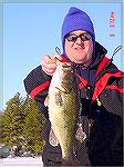 A beautiful 4.6 pound largemouth caught through the ice by Marcel Gagne of Sanford, MaineWinter BassJR