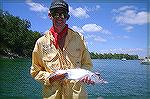 This is an australian tarpon ,pretty small for american standards but a good size for ours.Caught on a yellow and white clouser.You just can''t go past the old clouser.