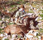 This is 13 year old Christopher Clerc and the large male javelina he harvested on February 18, 2001, during the Arizona 2001 H.A.M. (Handgun, Archery, Muzzleloader) javelina hunt. Christopher used a T