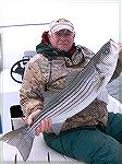 Bob Blatchley with a nice striped bass caught (and released) just outside the Ocean City, Maryland inlet. Late Fall 2009.